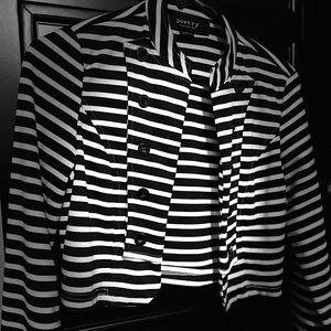 Black/White striped cropped blazer - Small